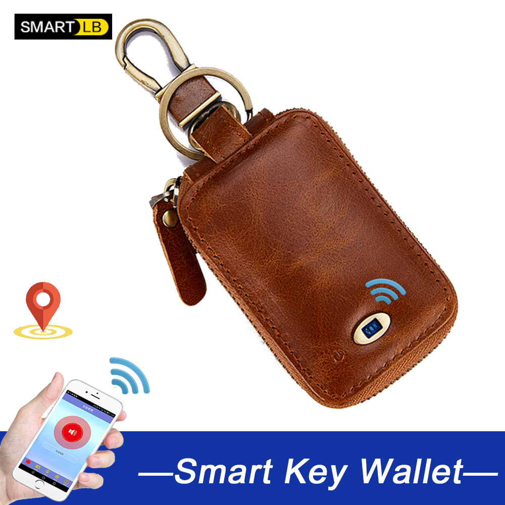 Smart  Anti-lost Genuine Leather Key Wallet Men Small Car Chain Holder Zipper  Wallets Cow Leather Bag Multi Function Case