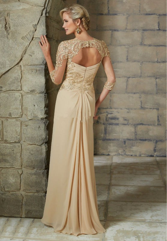 Plus Size Beaded Champagne Lace Mother of The Bride Dresses 2020 Chiffon 3/4 Sleeve Groom Godmother Dresses For Wedding Party