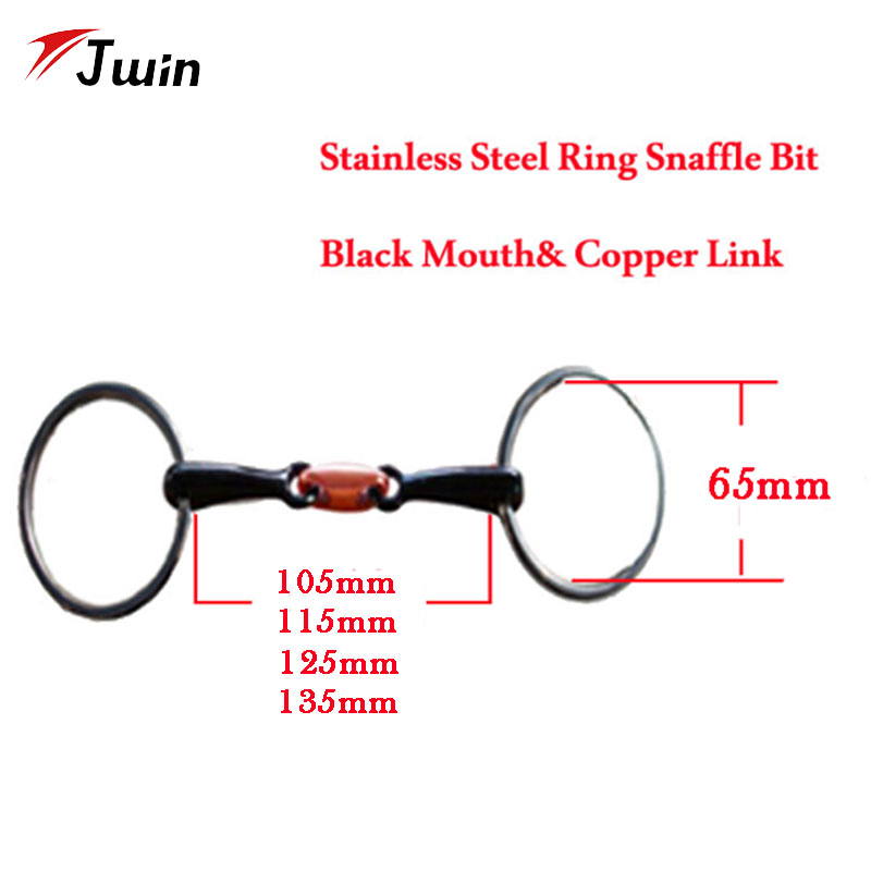 O Ring Snaffle Bit Equestrian Products Stainless Steel Black Horse Bit With Copper Link 105mm 115mm 125mm 135mm Mouth Bit
