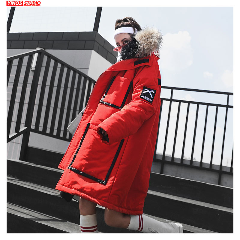 Dropshipping Autumn Streetwear Pocket Couple Jacket Male Baggy Outdoor Hooded Tops Patchwork Lengthen Warming Coats