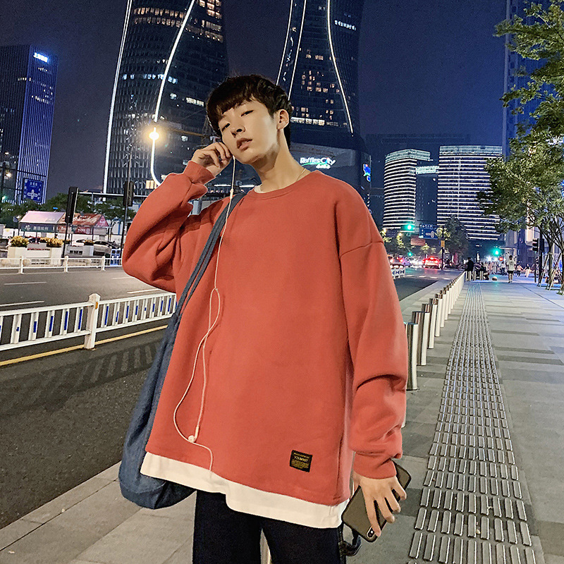 2020 Autumn Casual Sports Mock Two-Piece T-shirt Pullover Hoody Male Loose Crew Neck Long-sleeved Sweater Base Shirt Male 5