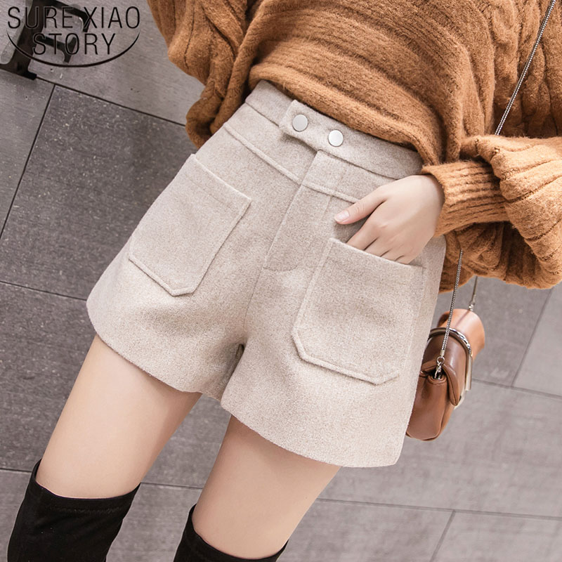 Elegant Leather Shorts Fashion High Waist Shorts Girls A-line  Bottoms Wide-legged Shorts Autumn Winter Women 6312 50 28