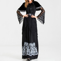 2019 Women Black Dress Gothic Halloween Dress Skull Print Wizard Cosplay Suit Vintage Punk Masquerade Party Vestidos Robe