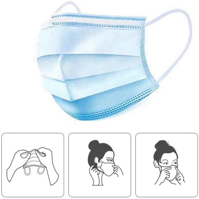 Disposable Mouth Masks Face Mask 3-Ply Filtration Anti Flu Dust PM2.5 Non-woven Mask Face Mouth Masks Breathable Earloops Mask 4