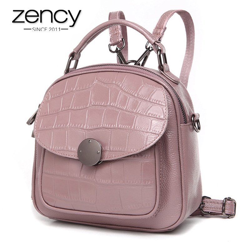 Zency 100% Genuine Leather Women Backpack Stone Pattern Girl's Schoolbags Fashion Female Solid Travel Bags Charm Pink Knapsack