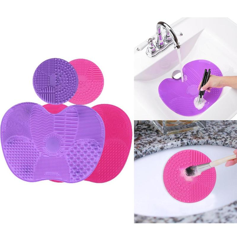 Silicone Makeup Brush Cleaning Mat Non-Toxic Odorless Multifunctional Practical 1 Apple Shaped Large Mats And 1 Round Mini Mats