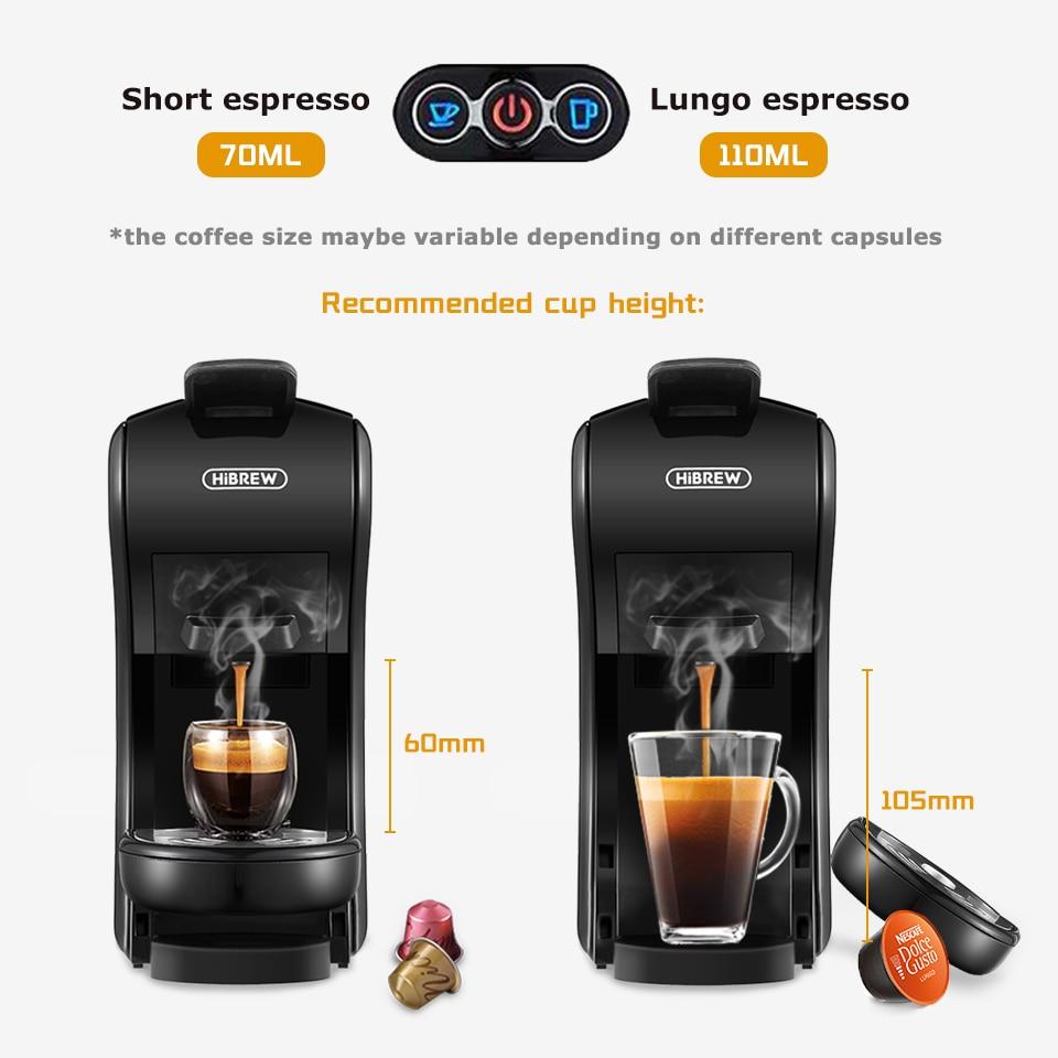 HiBREW Coffee Machine 19 Bar 3in1&4in1 Multiple  Capsule Espresso  Cafetera , Pod  Coffee Maker Dolce Milk&Nexpresso &Powder  H1 5