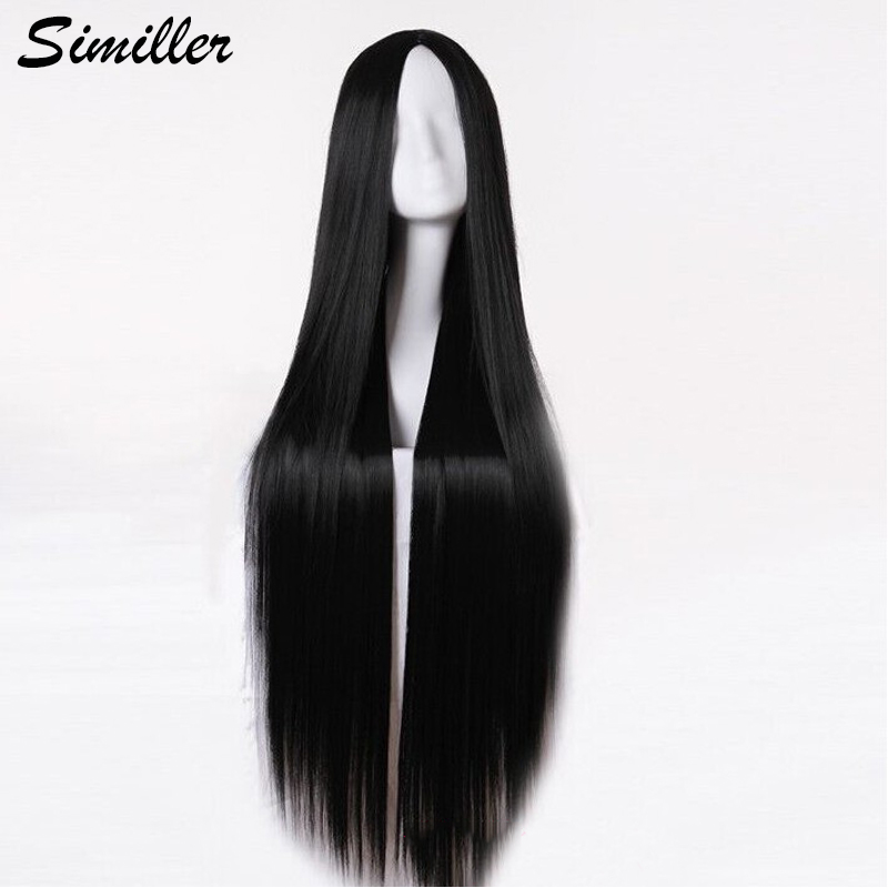 Similler Women Long Cosplay Wigs Straight Synthetic Hair Black White Heat Resistance Fiber Central Parting