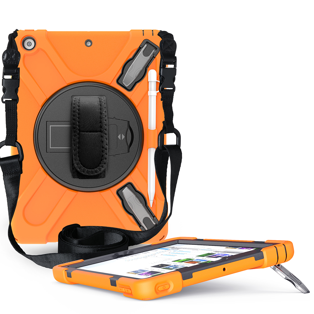 orange Black Case for iPad 10 2 Heavy Armor Kids Shokproof Cover A2197 A2198 A2200 A2270 A2428 A2429