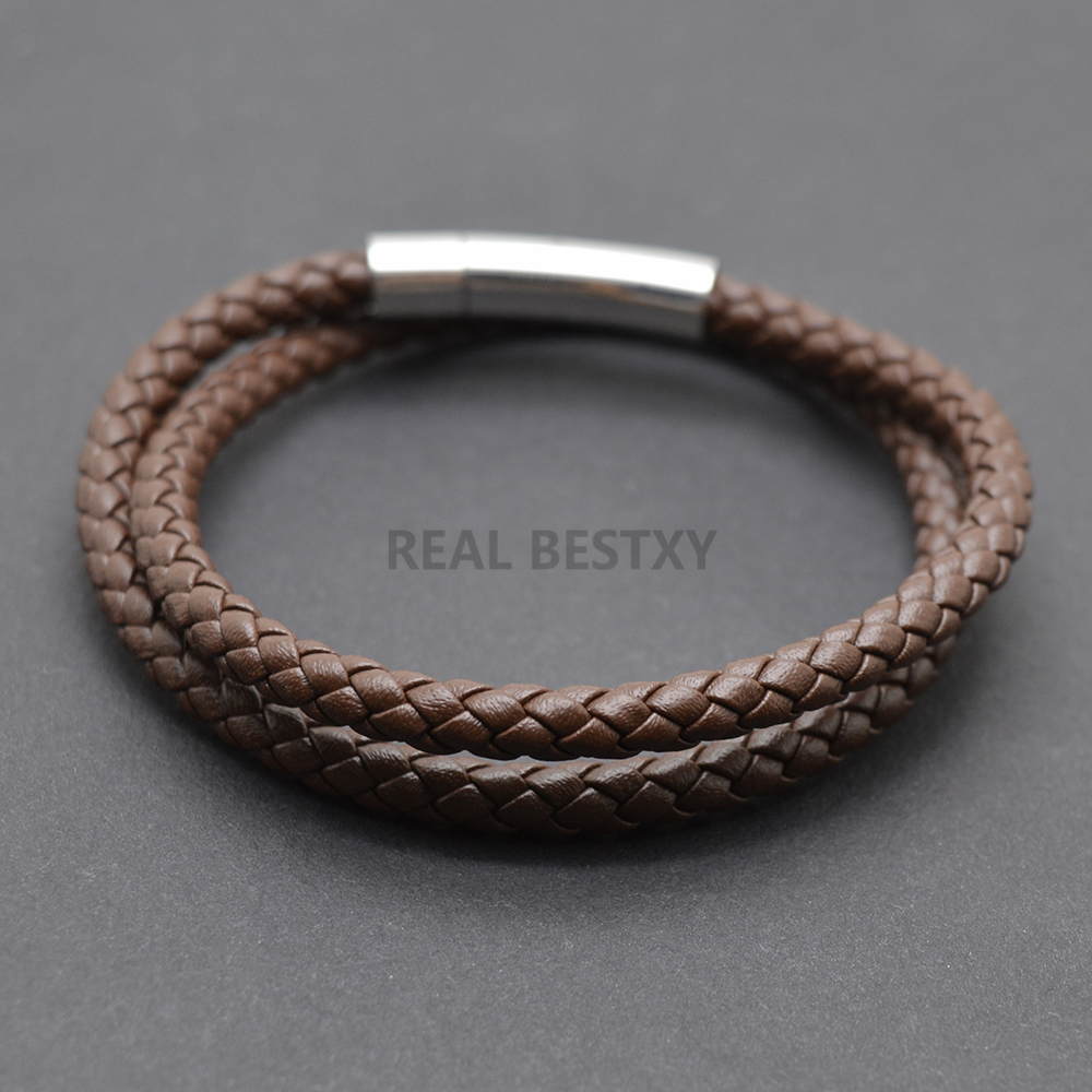 5pcs/lot Trendy Mens Bracelets Jewelry Brown Braided Leather Bracelet Stainless Steel Men Bracelet Jewellery Bangles Male Gift