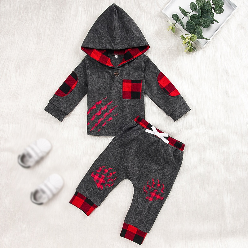 2019 2pces new baby Boys clothes set hoodies long sleeve plaid tops+pant Autumn winter cotton pullover Outfit Set boys