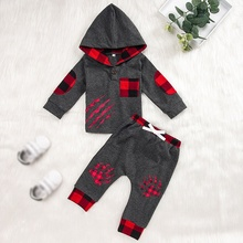 2019 2pces new baby Boys clothes set hoodies long sleeve plaid tops+pant Autumn winter cotton pullover Outfit Set boys clothes autumn winter boys clothing set 2017 new cute pullover sweatshirt pant kids suits cotton casual toddler boy clothes outfit suit