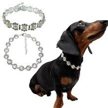 Собака красивый горный хрусталь ошейник ожерелье из искусственного жемчуга ошейники собака кошка причудливый принцесса свадебный стиль ошейник Q1
