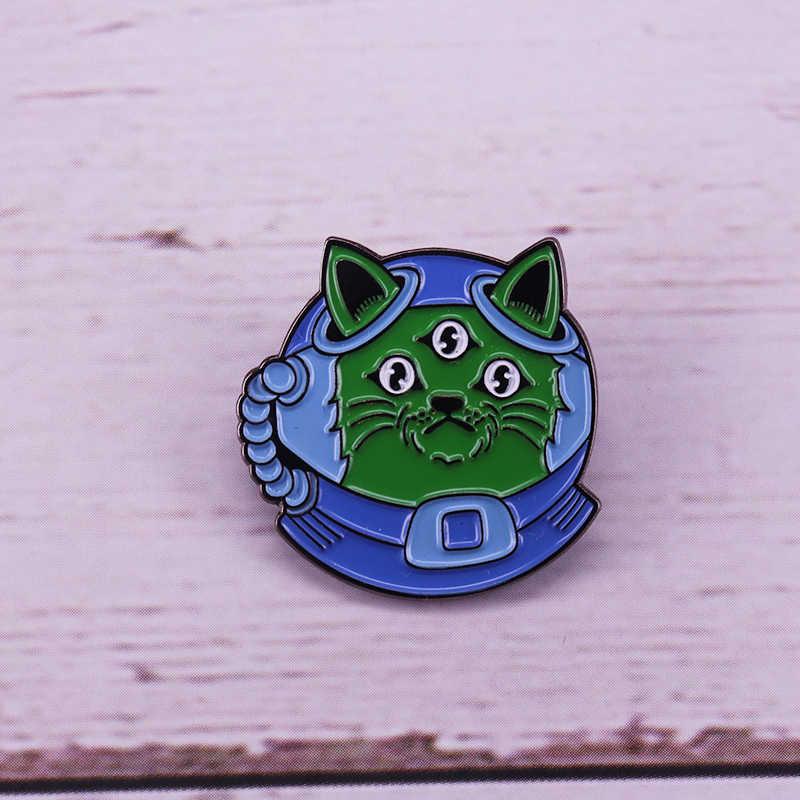 رائد الفضاء القط المينا دبوس الأزرق خوذة الكون شارة استكشاف الفضاء المشجعين هدية
