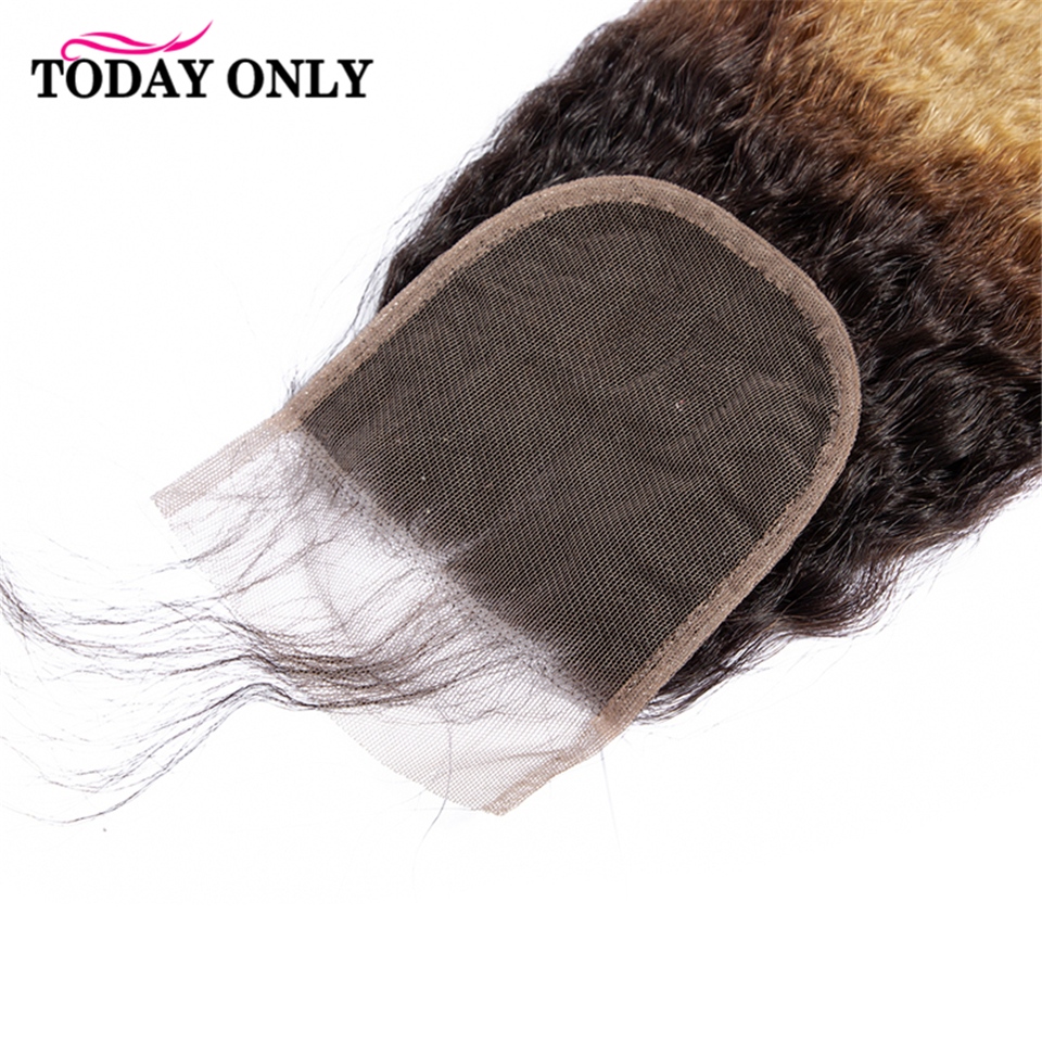 TODAY ONLY Blonde 3 Bundles With Closure Kinky Straight Hair Bundles With Closure Human Hair Bundles With Closure Remy 1b/27