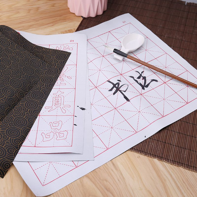Instant Ink-free Magic Water Writing Cloth Brush Grid Cloth Pad Chinese Calligraphy Practice Intersecting Diagram Set C26
