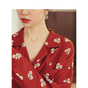 Image 4 - INMAN Spring Autumn Retro Young Girl Literary Turn Down Collar Red Print All Matched Women Blouse