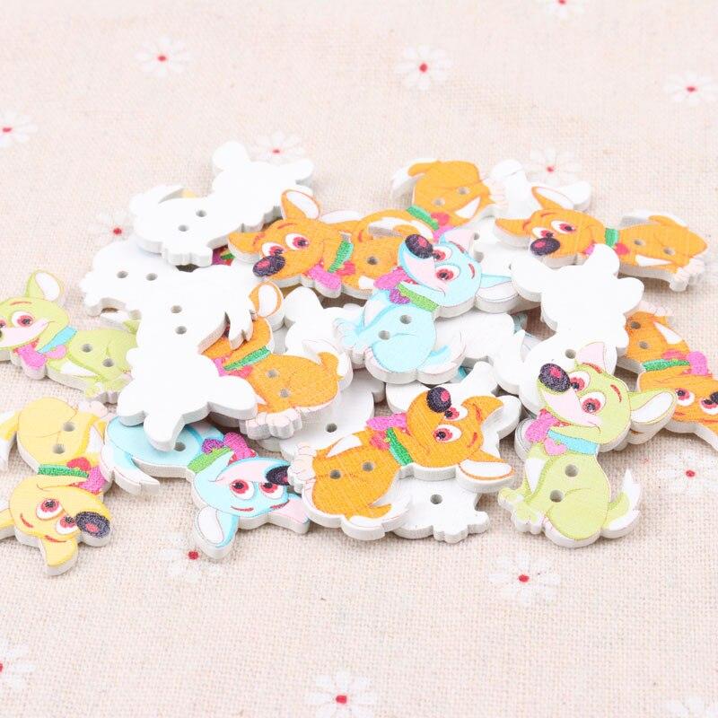 50 pieza de madera botones 22x28mm 2 hoyos perro Mix colores coser ropa bricolaje