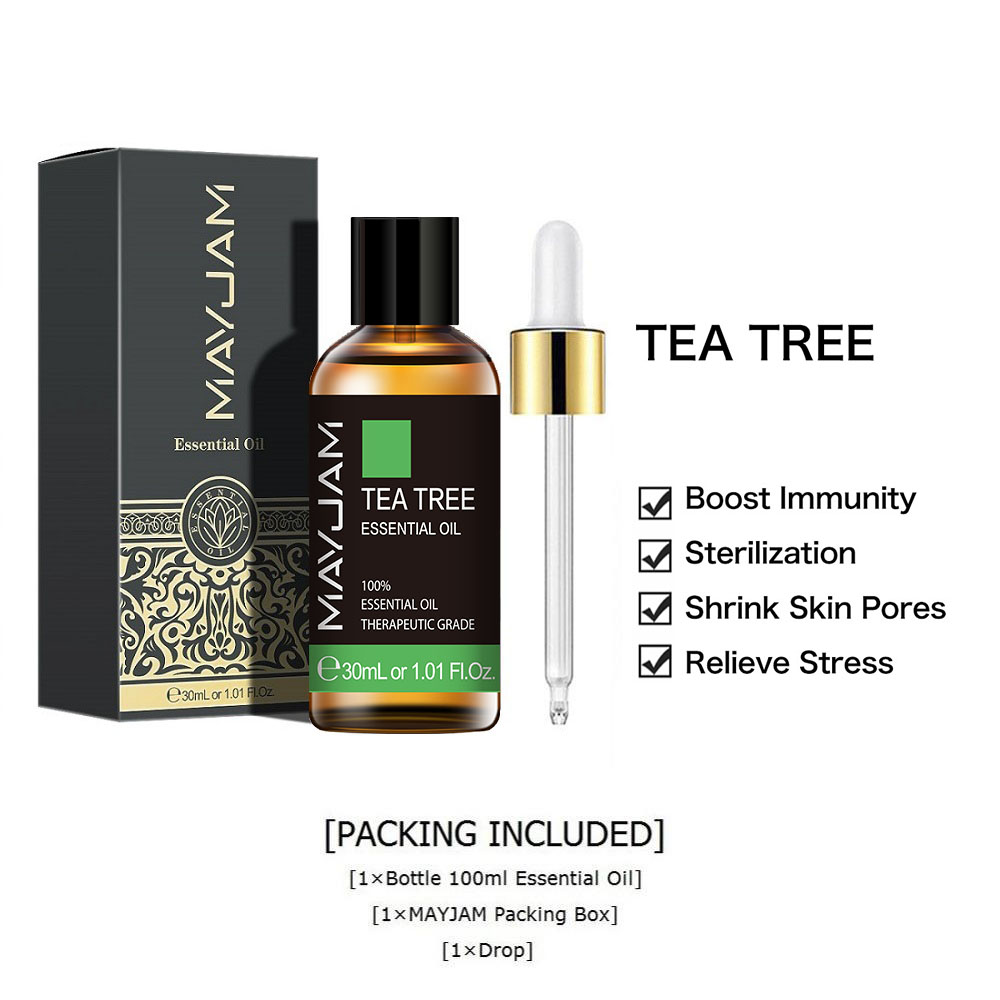 30ml Natural Tea Tree Essential Oil Diffuser Pure Sandalwood Essential Oils Vanilla Mint Patchouli Bergamot Eucalyptus Aroma Oil