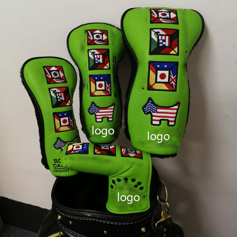 NEWEST Custom Design GOLF HEAD COVER Woods 1 3 5 AND Putter Clubs Headcovers 4 PCS/LOT FREE SHIPPING
