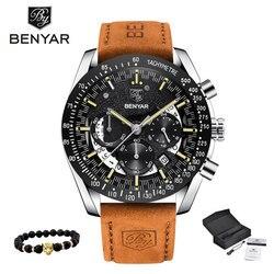 Kwarcowe zegarki męskie BENYAR wojskowy sport czarny zegarek mężczyźni top luksusowa marka chronograph męski modny zegarek Relogio Masculino