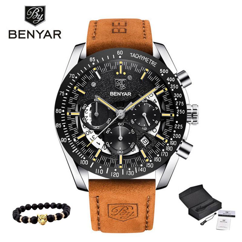 Quartz Men's Watches BENYAR Military Sport Black Wristwatch Men Top Luxury Brand Chronograph Men Fashion Watch Relogio Masculino