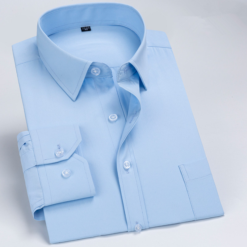 High Quality Men Shirt Long Sleeve Shirts Dress Business Twill Solid Male Shirts Comfortable Soft Spring Social Shirts DS376