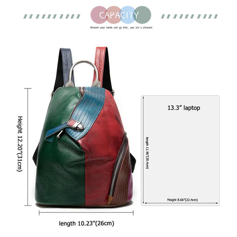 MVA Patchwork damski skórzany plecak na dziewczynę torby szkolne dla kobiet skórzany plecak żeński Mini mochila feminina