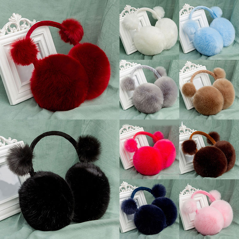 Winter Faux Fur Solid Color Earmuffs For Women Fashion Imitation Rabbit Fur Ear Muffs Two Balls Plush Earcap Warm Ear Cover