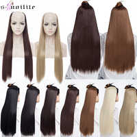 SNOILITE 66CM long straight hair extension synthetic 4 clips ins one piece extension hair women Fake Hair half Wig Black Brown