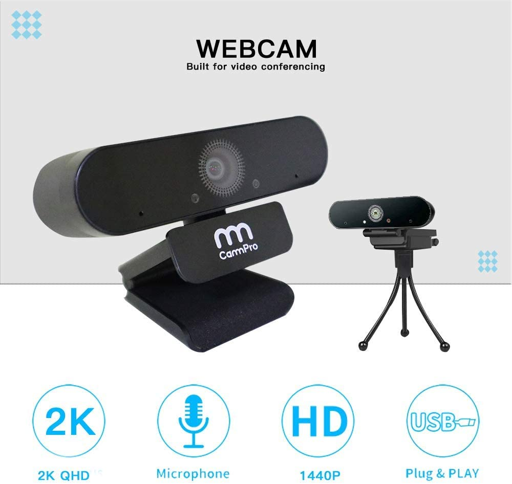 Cammpro Uhd 1440p Webcam With Microphone, Plug & Play 2k Usb External Camera For Video Conferencing Online Class Web Camera Distinctive For Its Traditional Properties