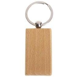 60 sztuk pusty prostokątny drewniany breloczek Diy drewno breloki kluczowe tagi mogą wygrawerować Diy prezenty w Haki i szyny od Dom i ogród na