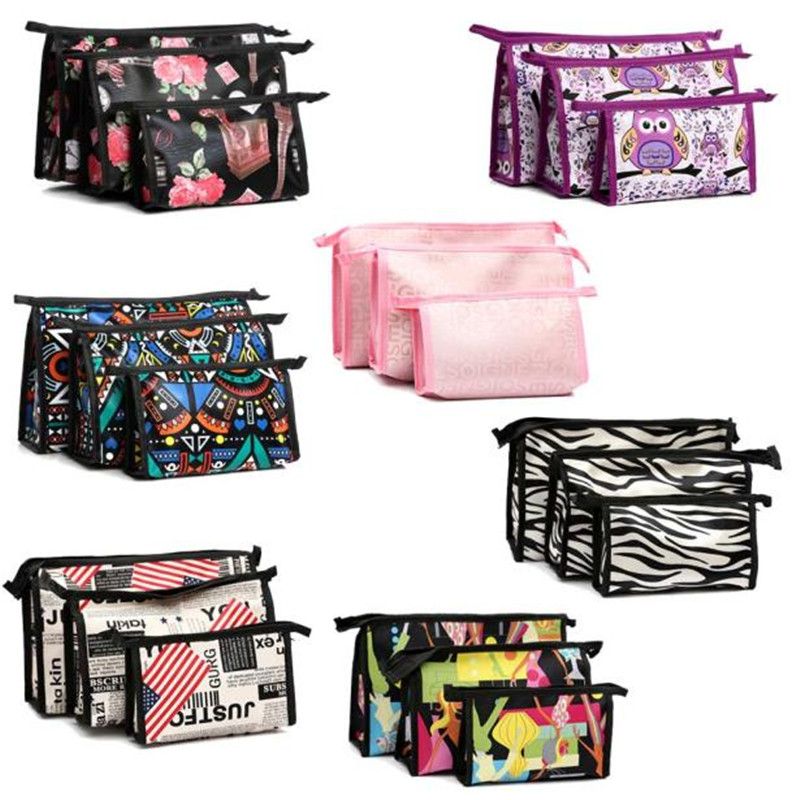 New Style 3pcs Cosmetic Toiletry Travel Wash Makeup Bag Holder Pouch Kits Set Leather Material Travel Makeup Bag