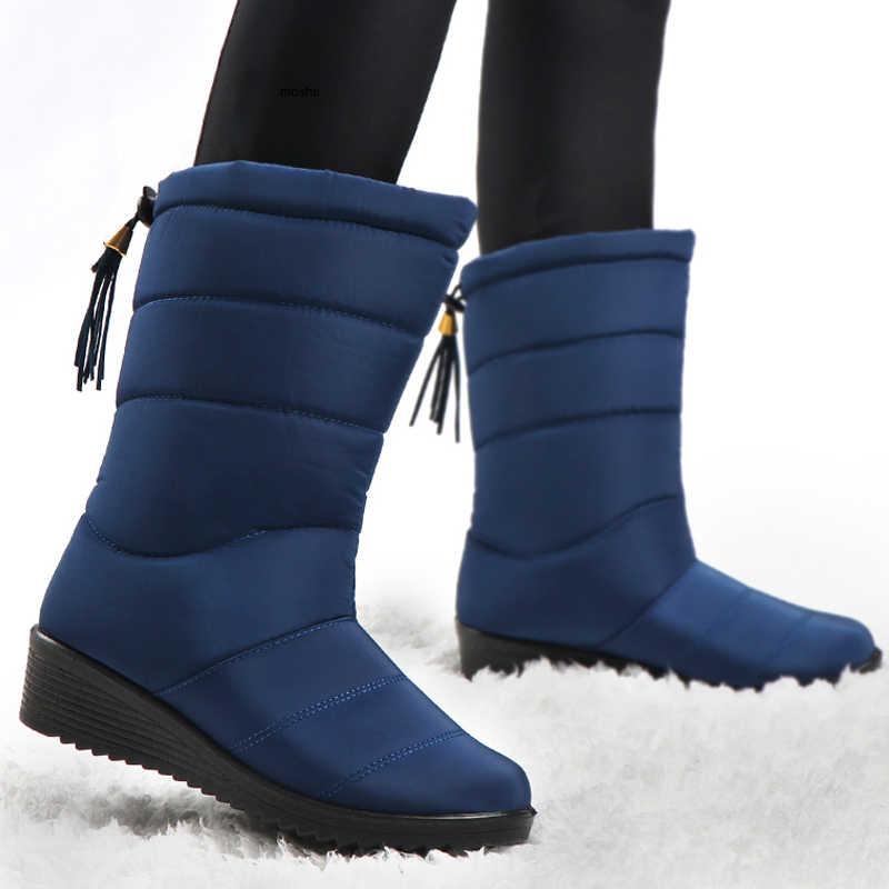 Yeni kadın botları kadın kışlık botlar su geçirmez aşağı kızlar ayak bileği kar botları bayan ayakkabıları kadın sıcak kürk Botas Mujer