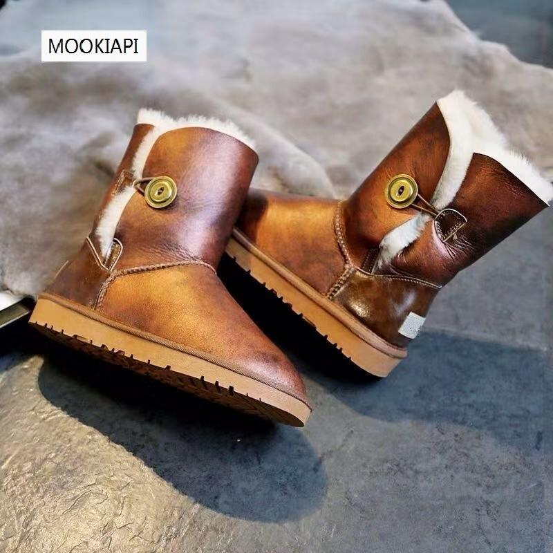 Australian brand high quality women's shoes, 100% real sheepskin, natural wool, classic warm women's snow boots