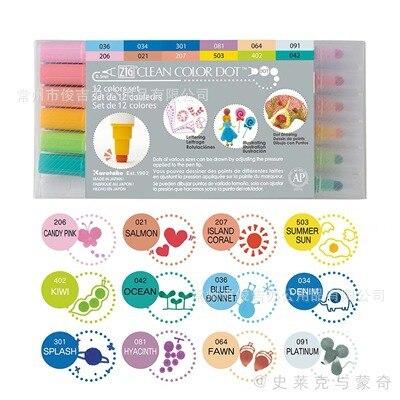 Japão zig kuretake cor limpa ponto ponta dupla caneta aquarela nova cor metálica marcador de carimbo redondo TC-6100 cores suaves