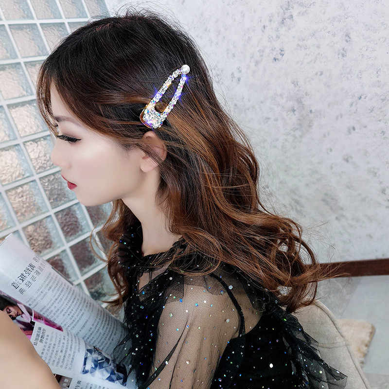 FYUAN Stile Della Corea Pieno di Strass Forcelle per Le Donne Bijoux Di Cristallo Colorato Perla Delle Forcelle di Nozze Accessori Gioielli Regali