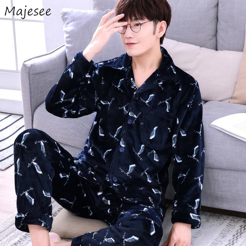 Pajama Sets Men Turn-down Collar Long Sleeve Mens Pajamas Warm Comfortable Korean Fashion Home Clothing High Quality Casual Chic