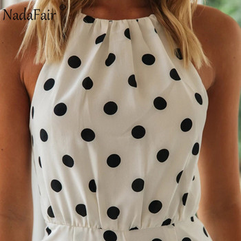 Nadafair Woman Short Jumpsuit Sexy Off Shoulder Backless Halter Chiffon Polka Dot White Summer Playsuit Women 4