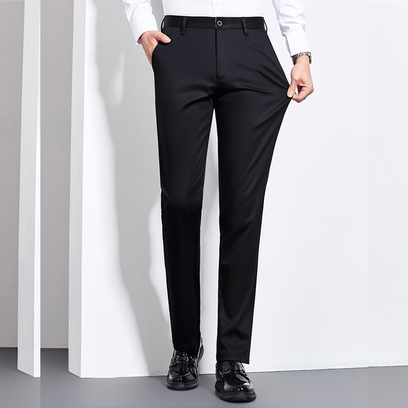 Image 4 - 2019 Winter New Mens Warm Casual Pants Fashion Business Solid  Color Thick Elasticity Brand Trousers Black NavyCasual Pants   -