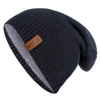 New Unisex Letter Beanie Hat Leisure Add Fur Lined Winter Hats For Men Women Keep Warm Knitted Hat Fashion Solid Ski Bonnet Cap