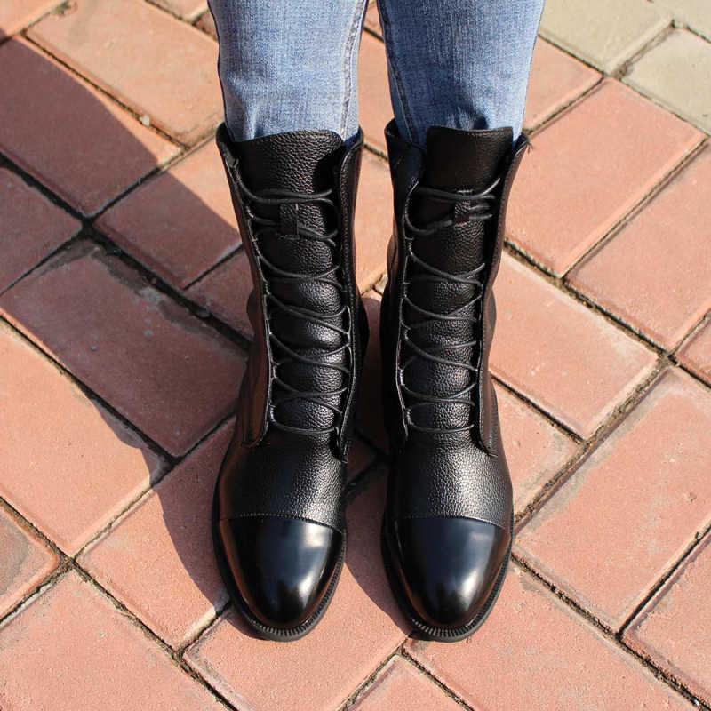 Phụ Nữ Vintage Giữa Bắp Chân Giày Bốt Nữ Thời Trang Phối Ren Nữ Thoải Mái Người Phụ Nữ Da PU Giày Nền Tảng Giày Nữ mùa Thu