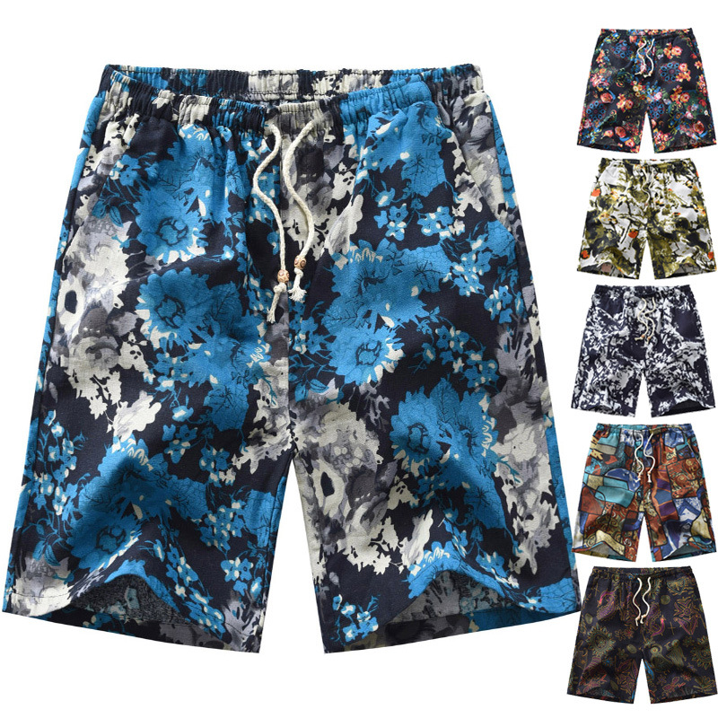 2019 New Products Large Size 4XL Casual Flax Floral Shorts Beach Shorts Male Fifth Pants
