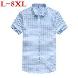 Camisa de talla grande 8XL100% algodón de talla grande hombre de manga corta el nuevo verano Añadir fertilizante mayor camisa de manga corta para hombre