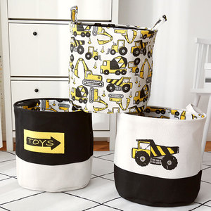 Cartoon Cars Printed Storage Basket For Toys Fabric Clothes Organizer Folding Large Laundry Basket For Dirty Clothes