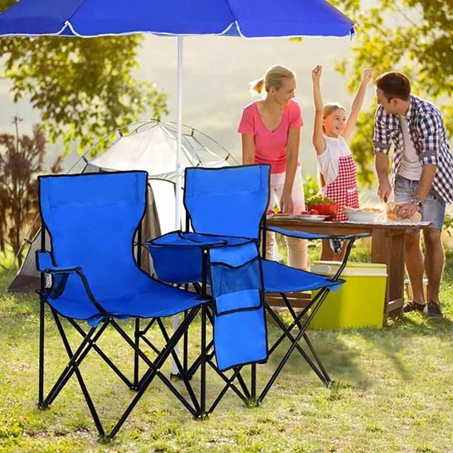 Outdoor Folding Table Garden Table Chair Set Portable Camping Picnic Furniture with Umbrella 2