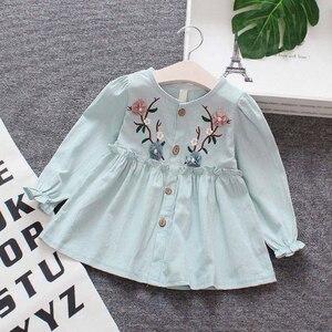 Платье для маленьких девочек; Осенняя одежда для детей; Повседневный Сарафан с длинными рукавами и цветочным рисунком для малышей; Одежда