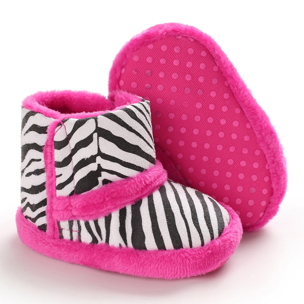 Baby Boots Infant Newborn Girls Boys Outdoor Shoes First Walkers Pink Zebra Pattern Shoe Booties Kids Shoes Sapato Bota Infantil