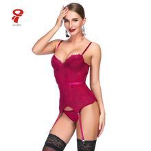 Women sexy Lingerie Bustier Set Basque Temptation Erotic Underwear Transparent Lace Waist trainer Push Up Corset