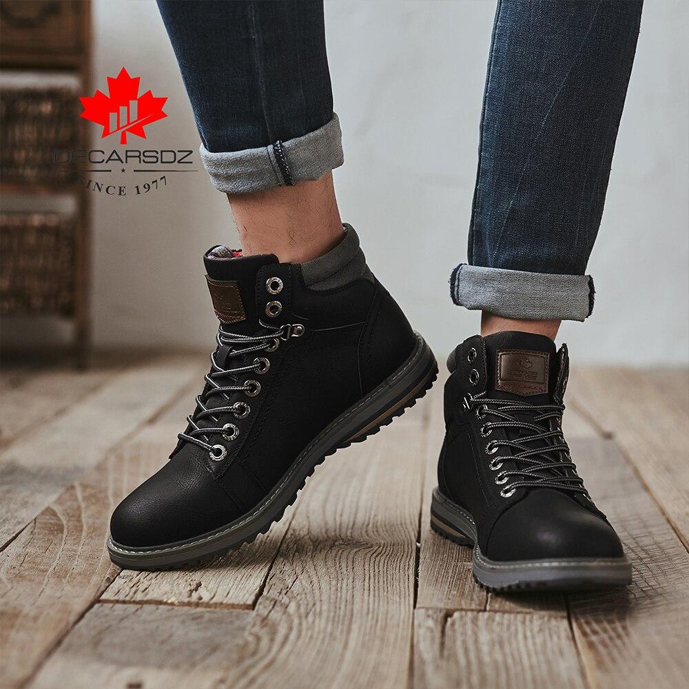 DECARSDZ Men Boots Lace-up Leather Shoes Popular Comfy Autumn Men Shoes Men Casual Boots Fashion Men's Boots Hiking Botas Hombre 3